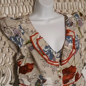 Anthropologie Tops - Anthro odille red blue floral peterpan ruffle top